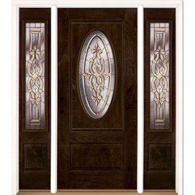 67.5 in.x81.625in.Silverdale Brass 3/4 Oval Lt Stained Chestnut Mahogany Rt-Hd Fiberglass Prehung Front Door w/ Sidelite