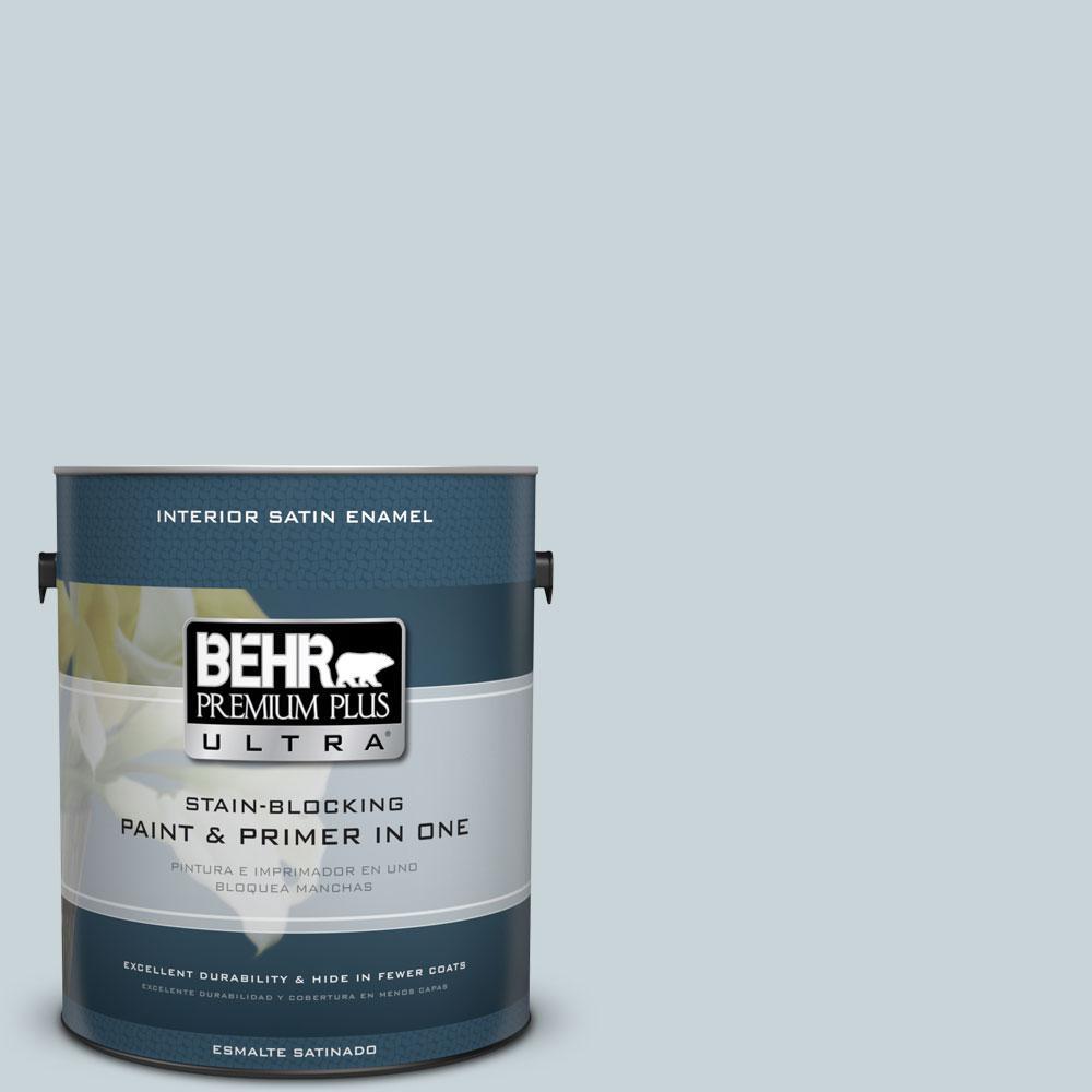 1 gal. #PPL-73 Tranquil Sea Satin Enamel Interior Paint and Primer