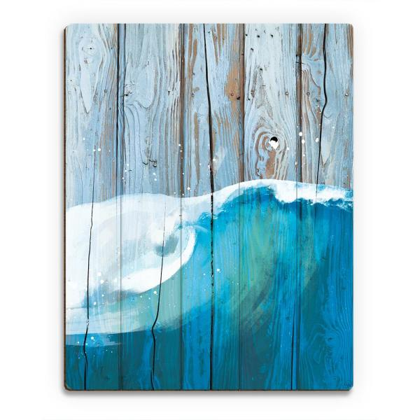 16 In X 20 In Rustic Wave Blue Planked Wood Wall Art Print