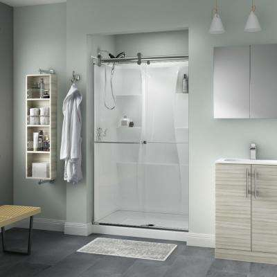 Everly 48 in. x 71 in. Semi-Frameless Contemporary Sliding Shower Door in Chrome with Clear Glass