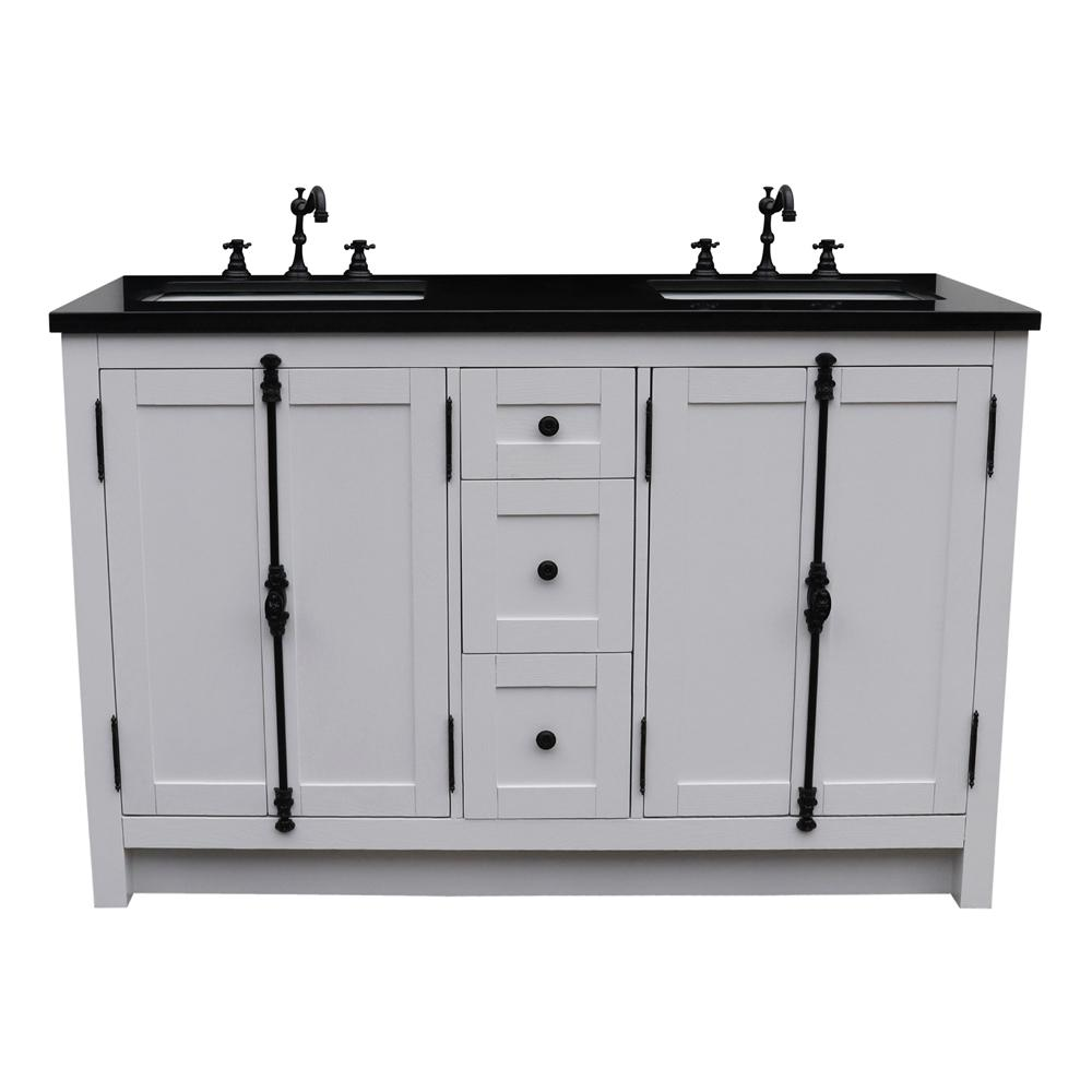 Bellaterra Home Plantation 55 in. W x 22 in. D Double Bath Vanity in White with Granite Vanity Top in Black with White Rectangle Basins