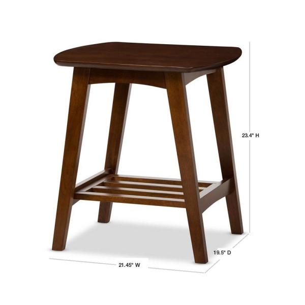 Baxton Studio Sacramento Mid Century Medium Brown Wood Finished End Table 28862 6628 Hd The Home Depot