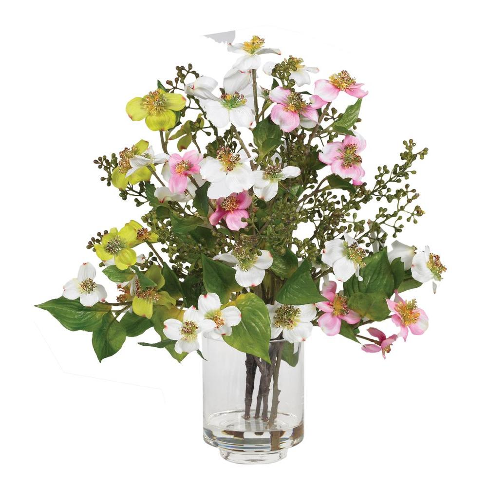 Nearly Natural Dogwood Silk Flower Arrangement 4687 The Home Depot - Which-artificial-flower-colors-are-good-for-a-home
