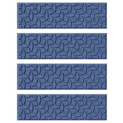 Navy 8.5 in. x 30 in. Ellipse Stair Tread Cover (Set of 4)
