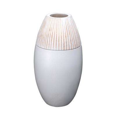 11 in. White Decorative Handmade Round Mango Wood Vase