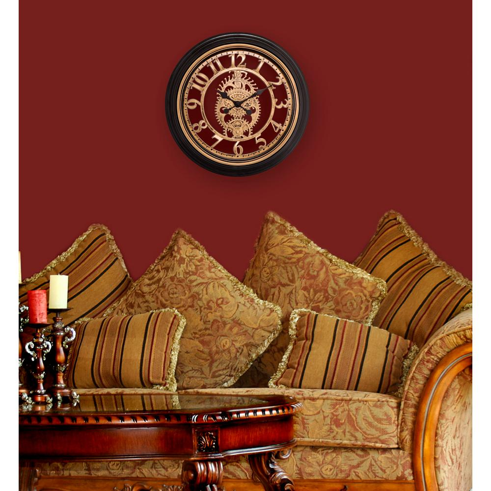 20 in. Brown Cut-out Gears Analog Wall Clock