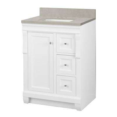 Naples 25 in. W x 22 in. D Vanity Cabinet in White with Engineered Marble Vanity Top in Dunescape with White Sink