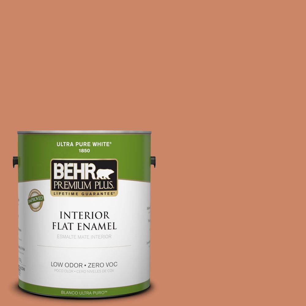 BEHR Premium Plus 1-gal. #230D-5 Aztec Brick Zero VOC Flat Enamel Interior Paint-DISCONTINUED