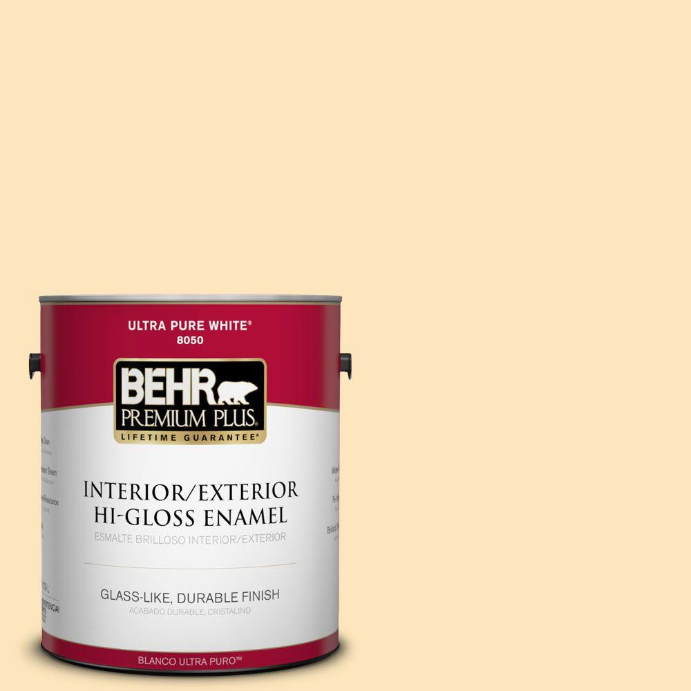 BEHR Premium Plus 1-gal. #350C-2 Banana Cream Hi-Gloss Enamel Interior/Exterior Paint