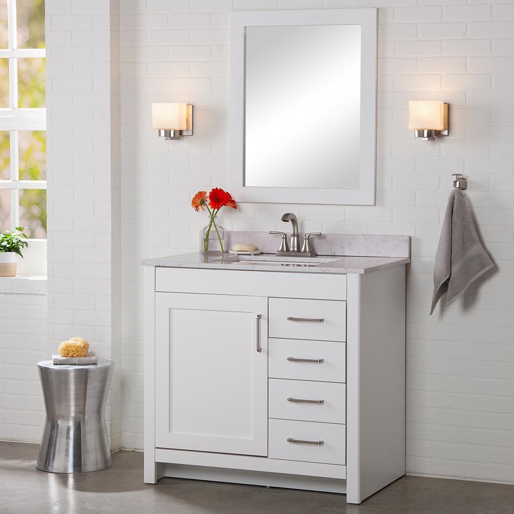 Westcourt 36 in. W x 21 in. D x 34 in. H Bath Vanity Cabinet Only in White