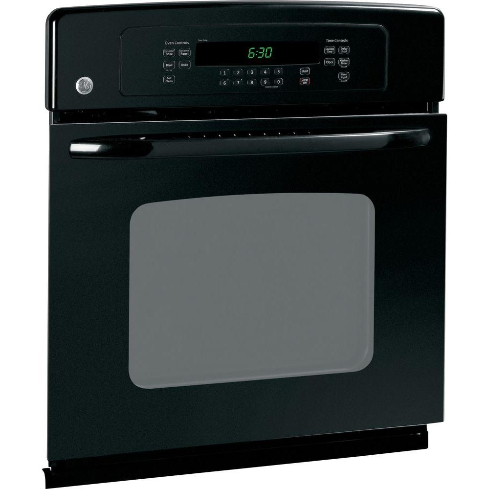 GE 27 in. Single Electric Wall Oven Self-Cleaning with Convection in Black GE appliances provide up-to-date technology and exceptional quality to simplify the way you live. With a timeless appearance, this family of appliances is ideal for your family. And, coming from one of the most trusted names in America, you know that this entire selection of appliances is as advanced as it is practical. Color: Black.