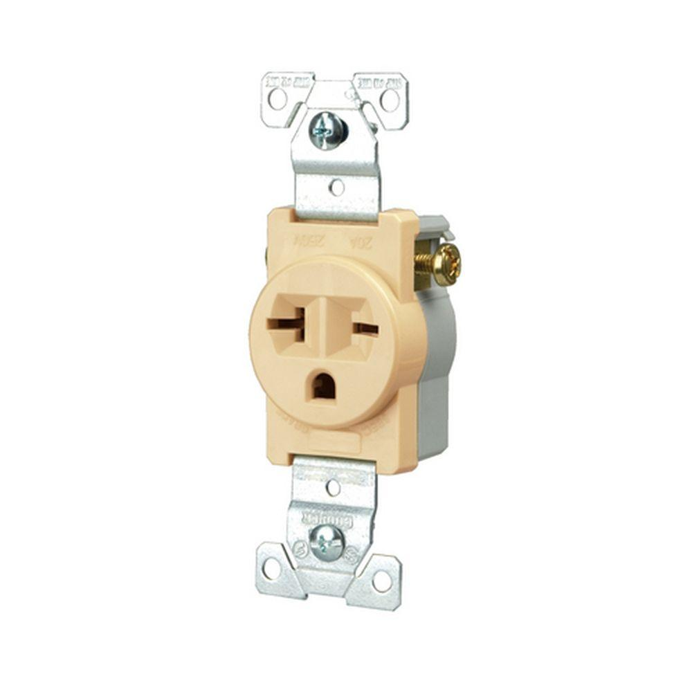 Eaton Commercial Grade 20 Amp Straight Blade Single Receptacle With Home Wiring Internet Side Ivory
