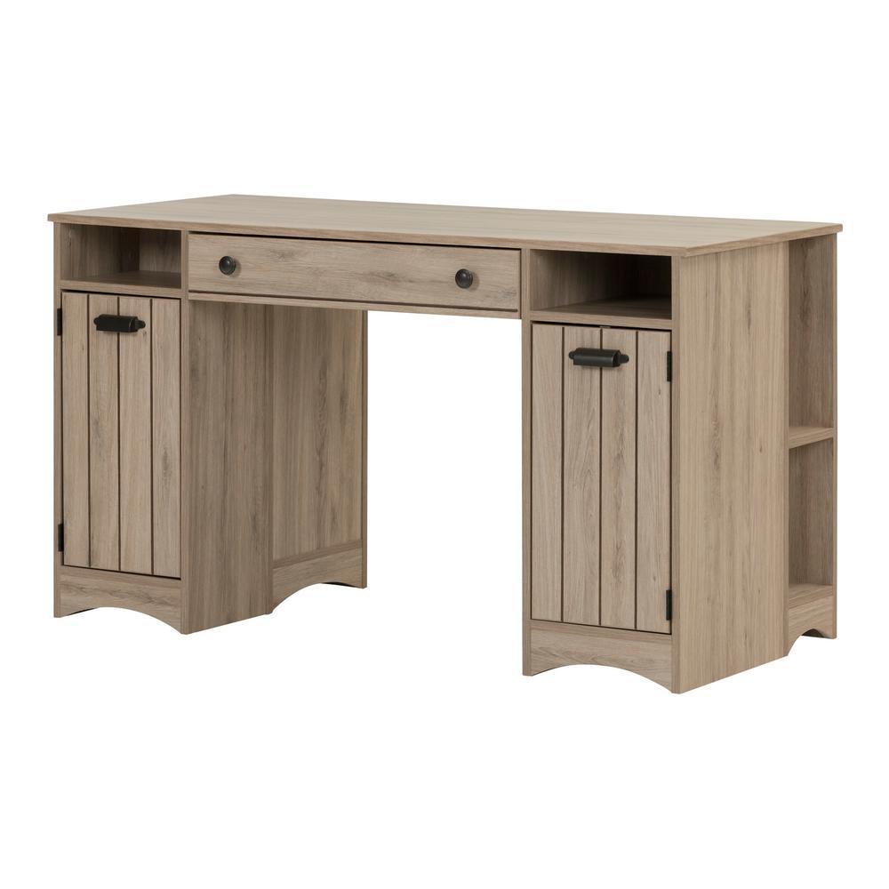53.32 in. Rustic Oak Rectangular 1 -Drawer Writing Desk with Shelf