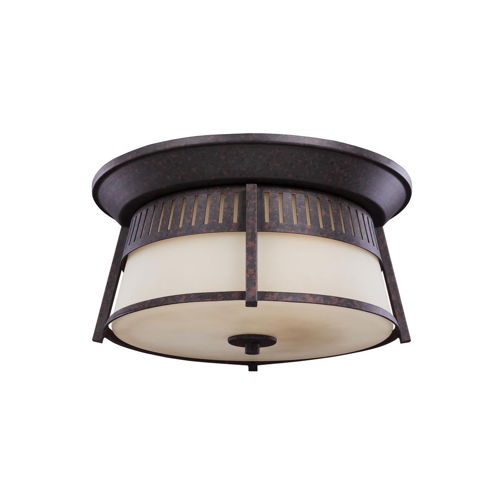 Hamilton Heights Oxford Bronze 3-Light Outdoor Flush Mount with LED Bulbs