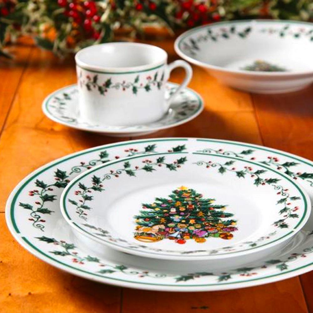 Gibson Home Tree Trimming 20-Piece Multi-Color Christmas Theme Dinnerware Set