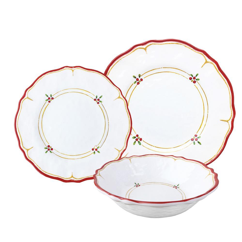 12-Piece Natale Red Dinnerware Set