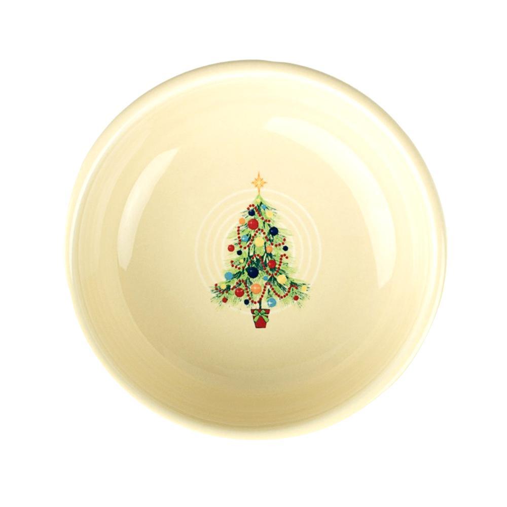 "5 3/8"" 14.25 oz. Ivory Ceramic Christmas Tree Small Bowl"