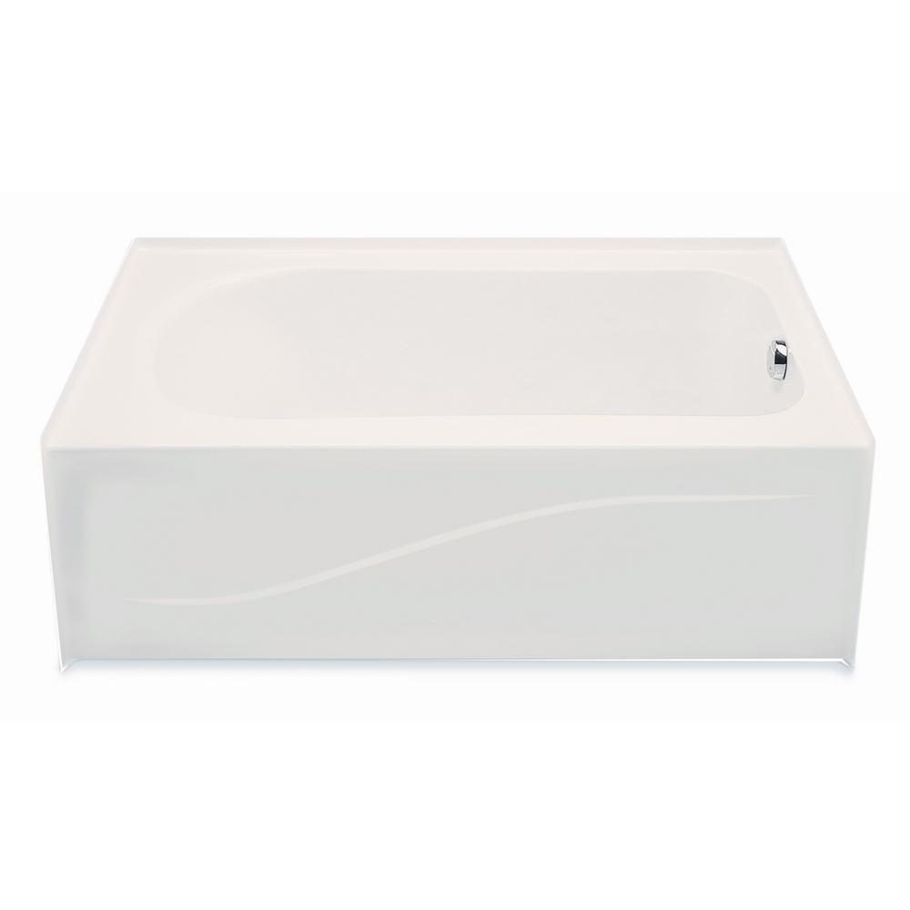 Aquatic 6030AIS 5 ft. Right Drain Acrylic Soaking Tub in Biscuit