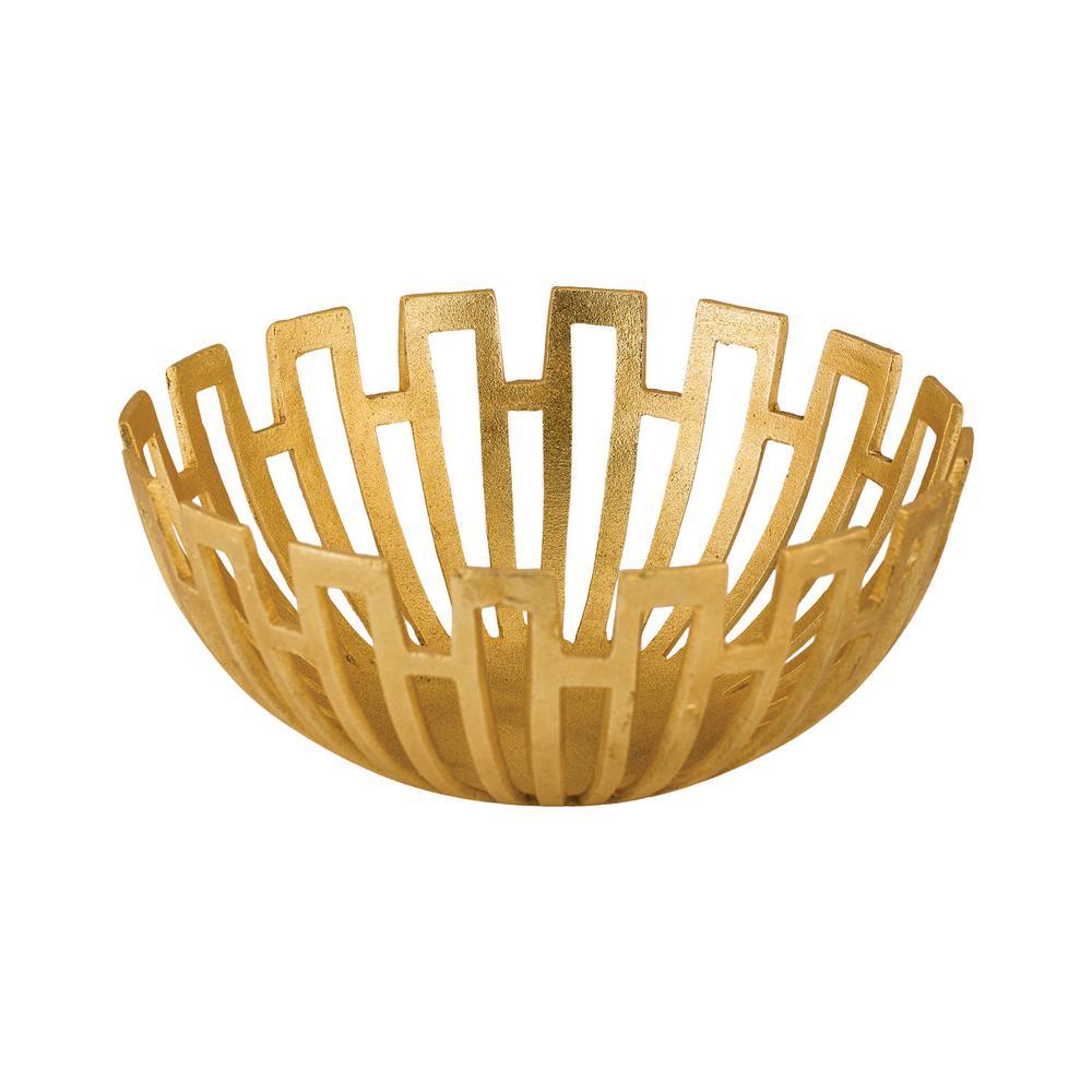 Greek Starburst 12 in. Decorative Bowl in Gold