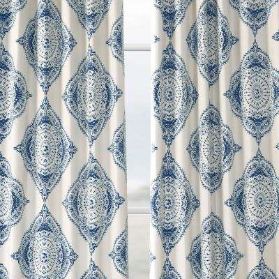 Henna Blue Blackout Curtain 50 in. W x 63 in. L (2-Pair)