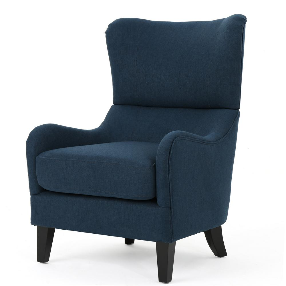 Noble House Quentin Navy Blue Fabric Sofa Chair