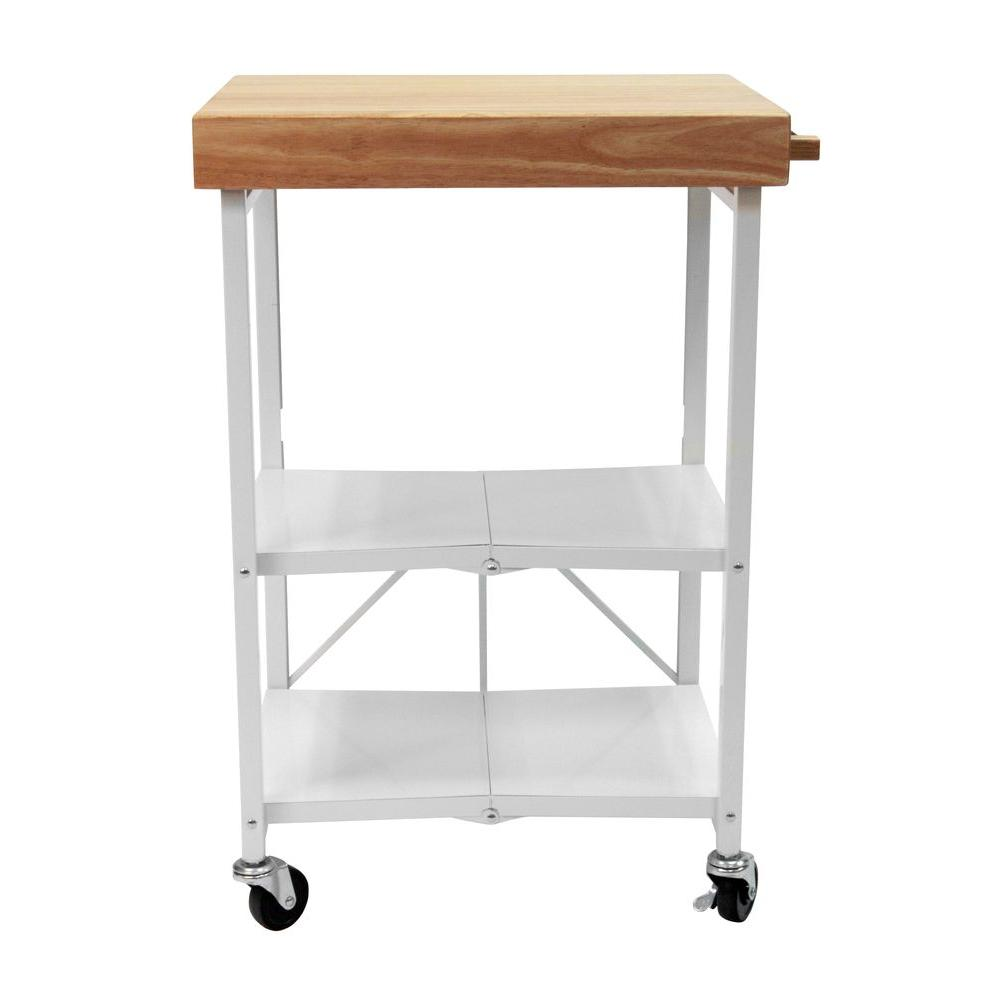 W Rubber Wood Folding Kitchen Island Cart