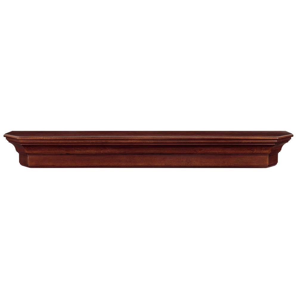 The Lindon 4 Ft Cherry Distressed Cap Shelf Mantel 490 48 70 The Home Depot