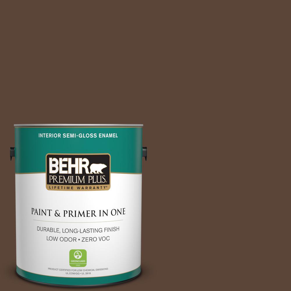 1-gal. #N150-7 Chocolate Therapy Semi-Gloss Enamel Interior Paint