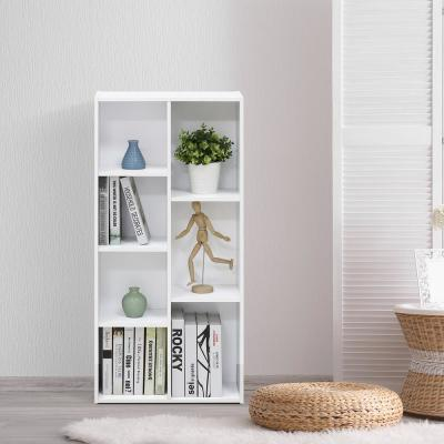 41.7 in. White Faux Wood 7-shelf Standard Bookcase with Storage