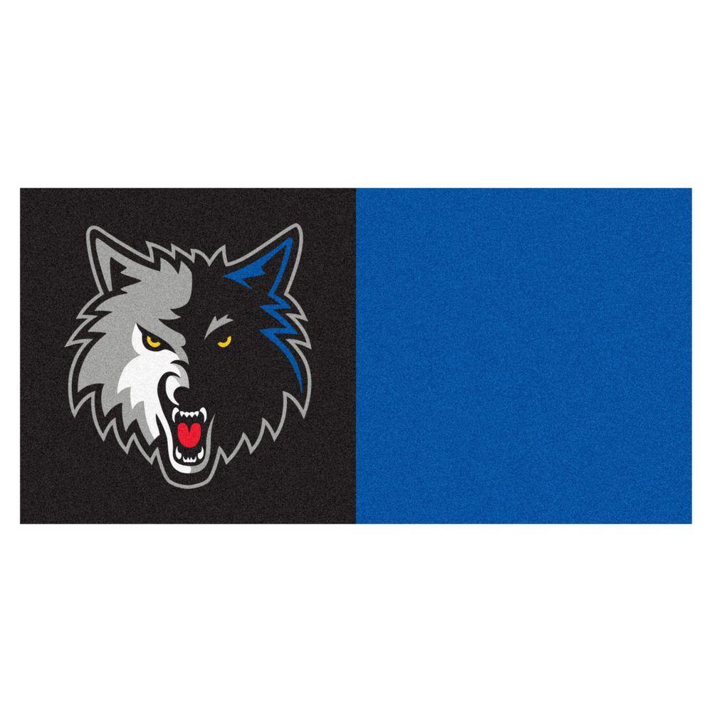 FANMATS NBA Minnesota Timberwolves Blue 18 in. x 18 in. Carpet Tile (20 Tiles/Case)