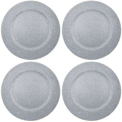 Home Essentials & Beyond 13 in. 4-Piece Twinkle Grey Plate Charger Set