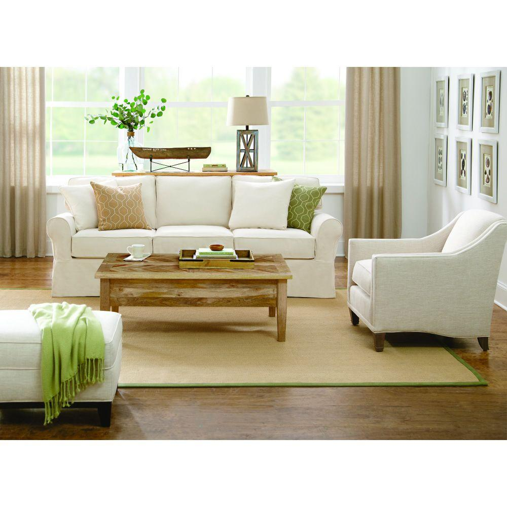 Beautiful Home Decorators Collection Mayfair 95 In. Classic Natural Twill Fabric Long  Sofa