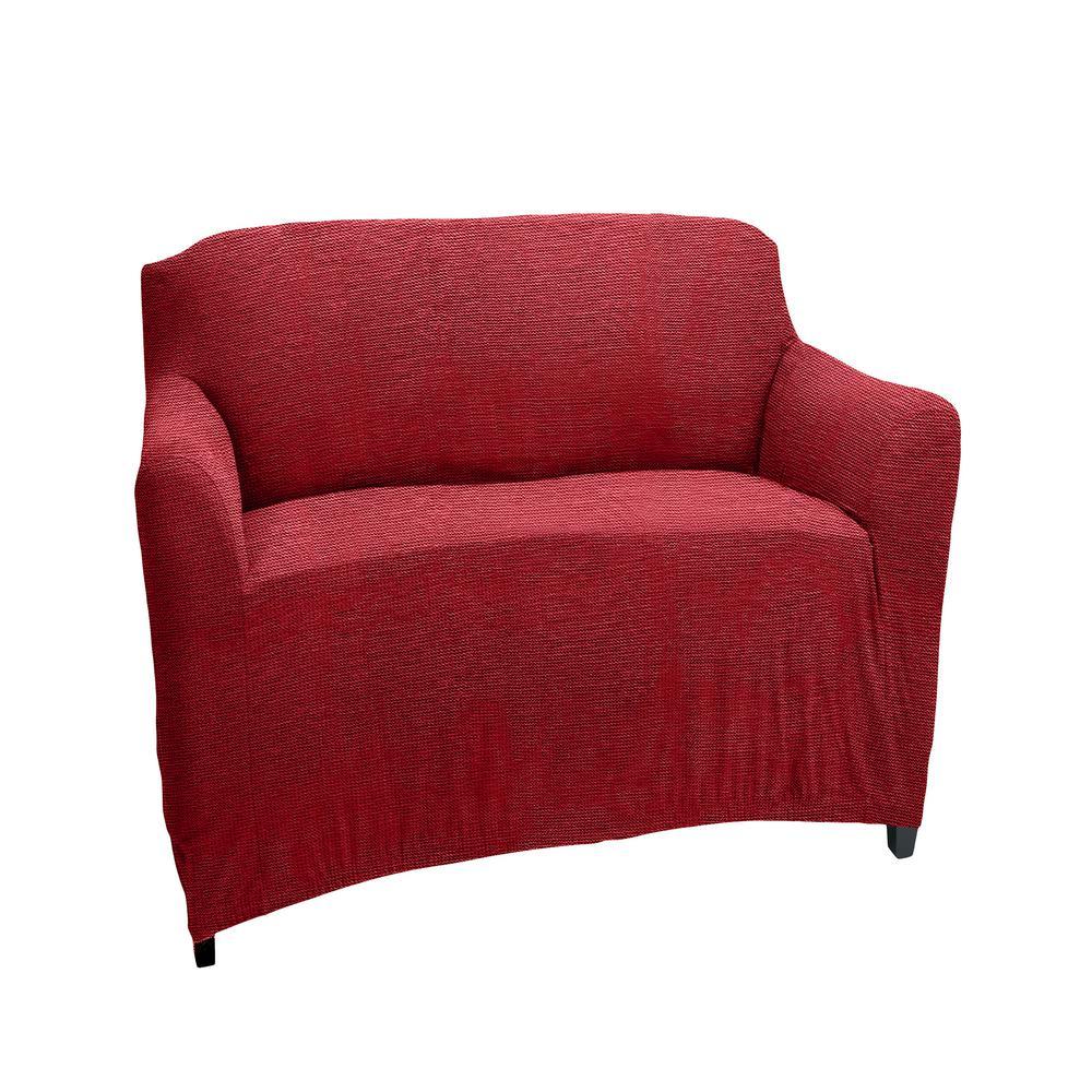 96.5 in. x 23.6 in. x 27.5 in. Zig Zag Burgundy Stretch Chair Slip Cover