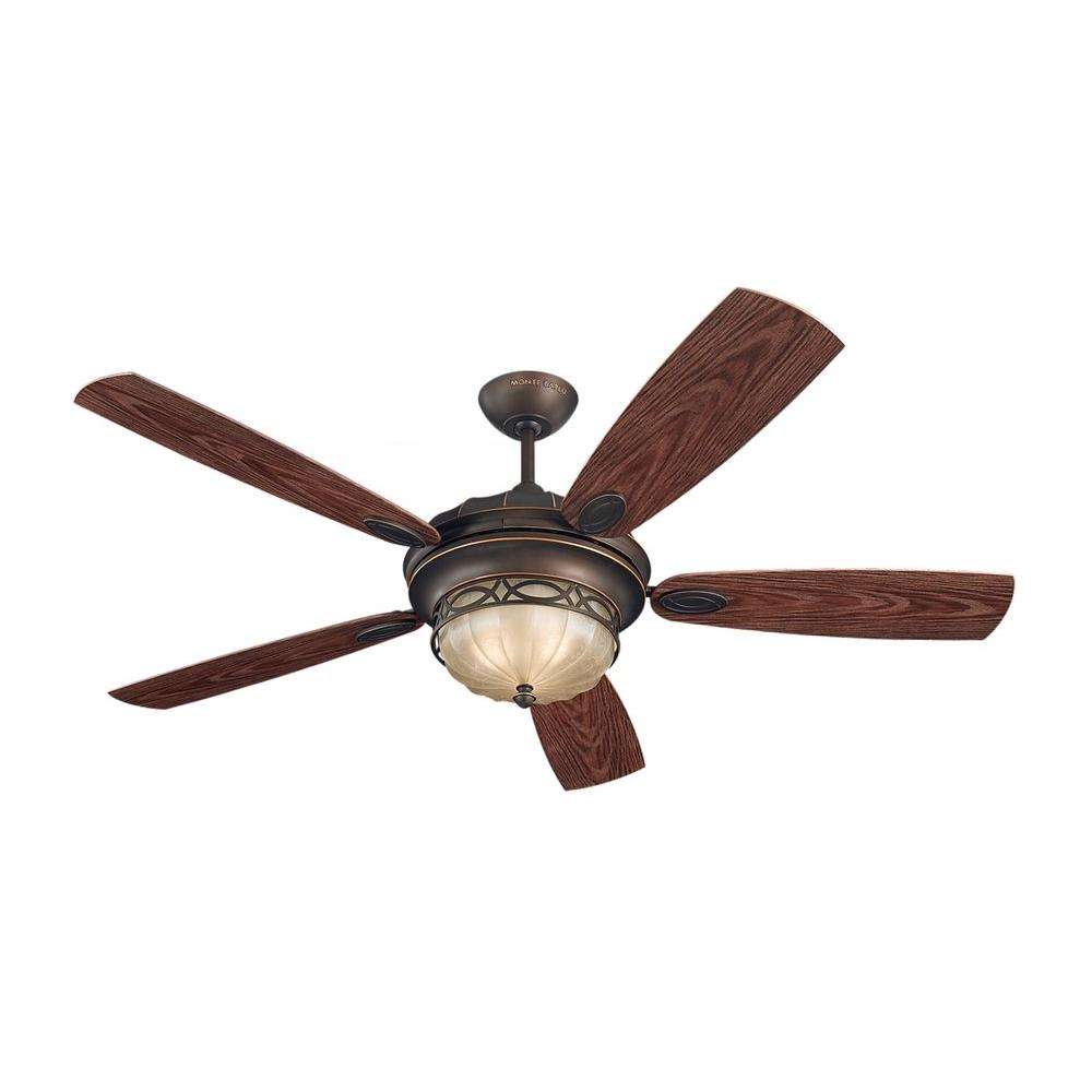 Monte Carlo Drawing Room 56 in. Roman Bronze Ceiling Fan with Grain ...