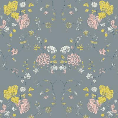 Nomad Collection Floral Lace in Stone Removable and Repositionable Wallpaper
