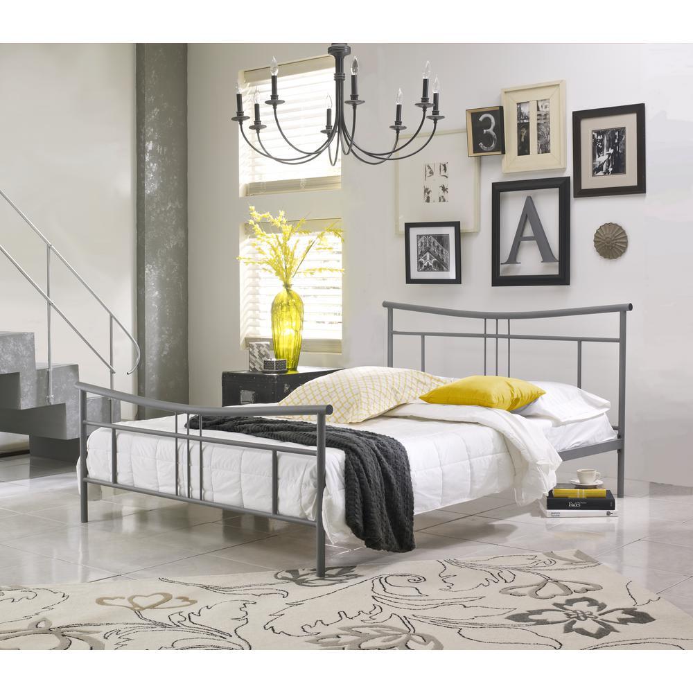 Monroe Matte Grey Queen Platform Bed