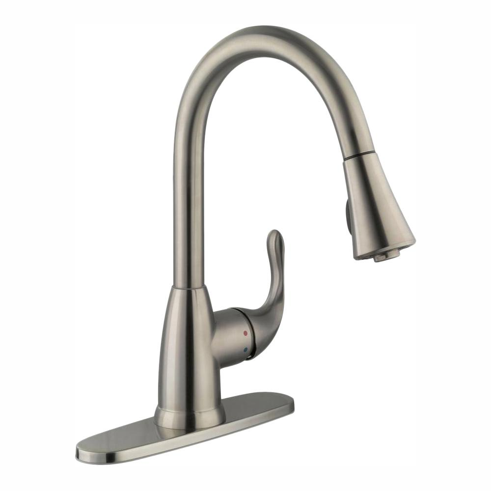 Glacier Bay Market Single-Handle Pull-Down Kitchen Faucet with TurboSpray and FastMount in Stainless Steel