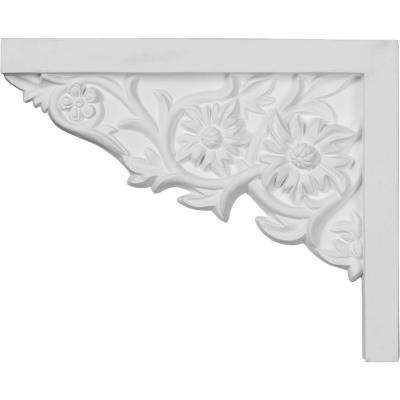 9 in. x 5/8 in. x 7-1/4 in. Primed Polyurethane Floral Small Left Stair Bracket