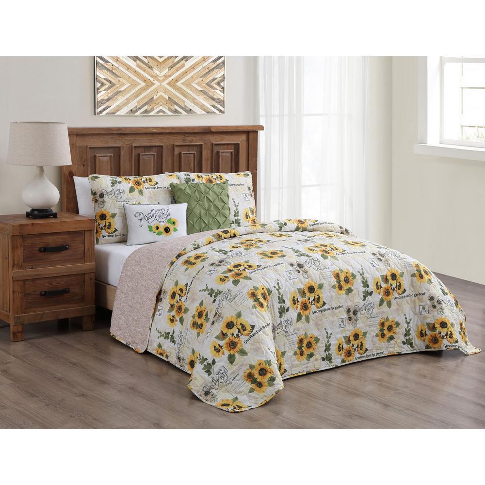 Yara Floral Reversible Yellow Twin Quilt Set