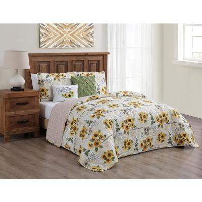 Yara Floral Reversible Yellow Queen Quilt Set