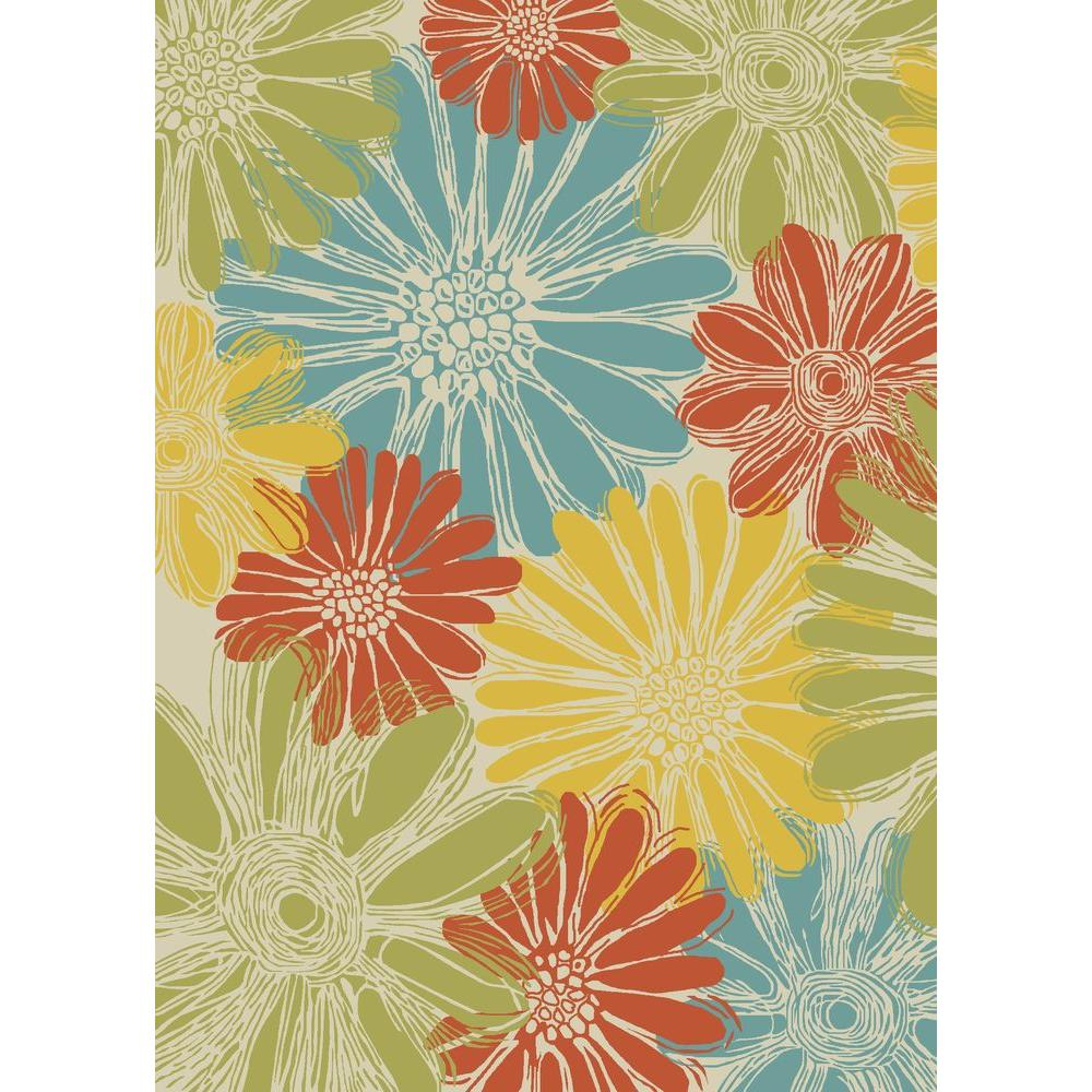 Nourison Home And Garden Daisies Ivory 10 Ft X 13 Indoor Outdoor Area Rug 112569 The Depot
