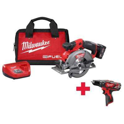 M12 FUEL 12-Volt Lithium-Ion 5-3/8 in. Cordless Circular Saw Kit /W Free M12 Hammer Drill Driver