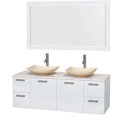 Amare 60 in. Double Vanity in Glossy White with Solid-Surface Vanity Top in White, Marble Sinks and 58 in. Mirror