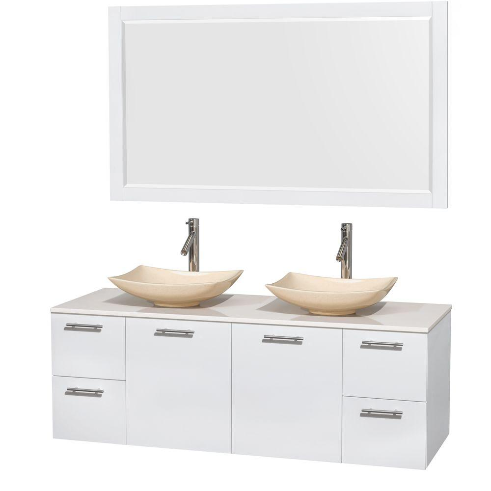Amare 60 in. Double Vanity in Glossy White with Solid-Surface Vanity