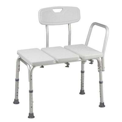 BactiX 26-1/2 in. W x 16 in. D Aluminum Adjustable Transfer Bench with Back Rest in White