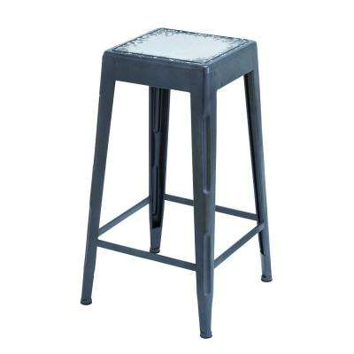 30 in. Black and White Bar Stool with Smooth Matte Black