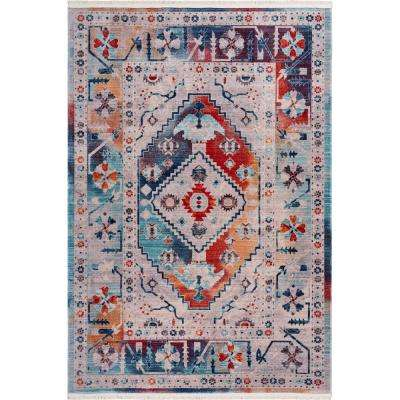 Mirage Multi 5 ft. 3 in. x 7 ft. 6 in. Ethnic Border Medallion Global Area Rug