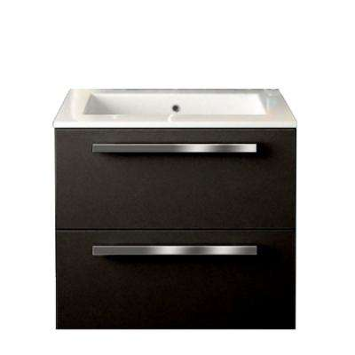 Ambra 24 in. W x 18-1/10 in. D Bath Vanity in Glossy Black with Tekorlux Vanity Top in White with White Basin