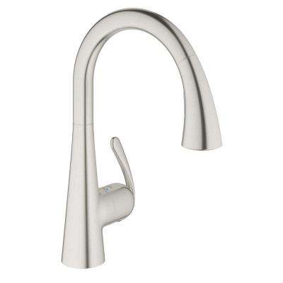 LadyLux3 Cafe Single-Handle Pull-Down Sprayer Kitchen Faucet with Dual Spray in Real Steel