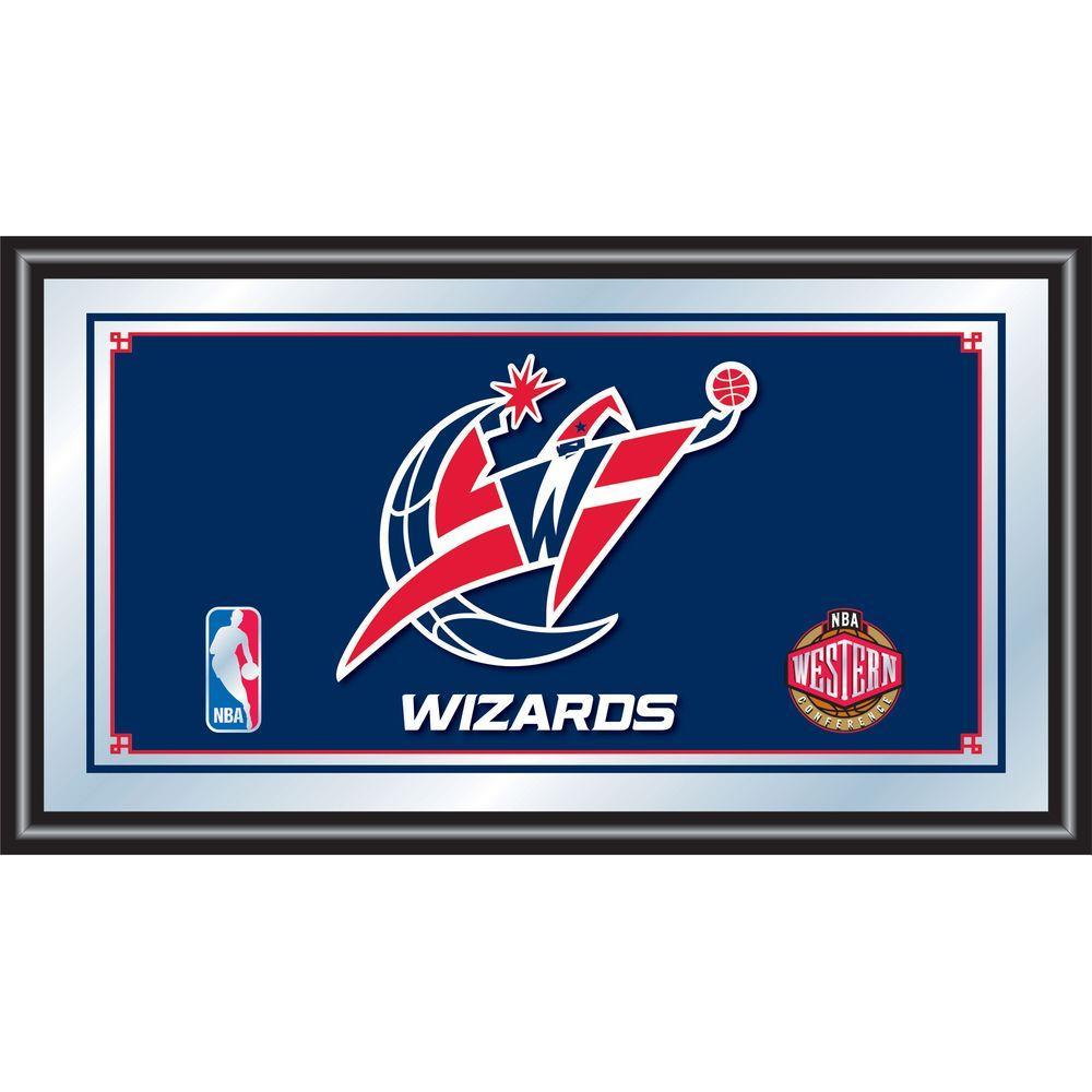 Washington Wizards NBA 15 in. x 26 in. Black Wood Framed Mirror